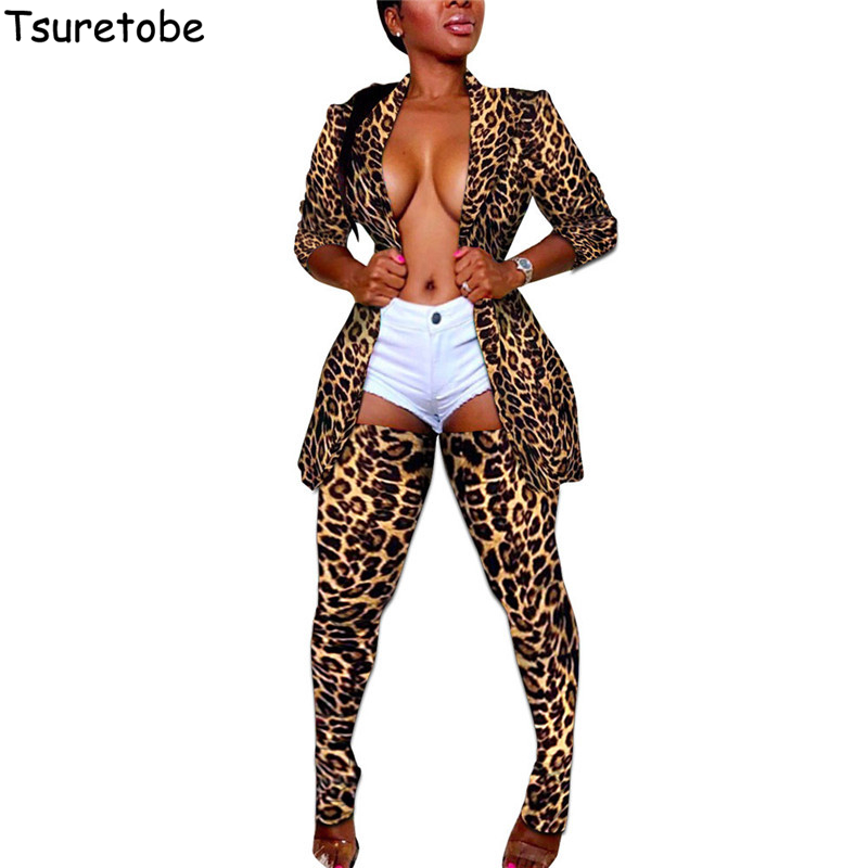 Tsuretobe Leopard Two Piece Set Women Camo Long Coat Top And Pants Fashion Matching Sets Long Sleeve Party Club Outfits Female
