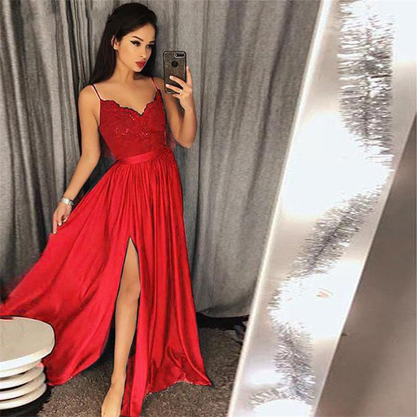 NUOXIFANG Fashion Long Evening Gowns 2020 Spaghetti Straps V-Neckline Sleeveless Lace Bodice Prom Dresses With Split