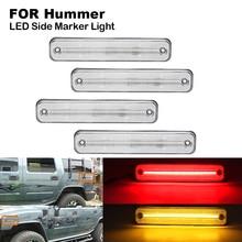 цена на Clear LED Car Side Marker Light Indicator Lamp For Hummer H2 2003-2009 2X Front Side Marker(Amber)  2X Rear Side Marker(Red)