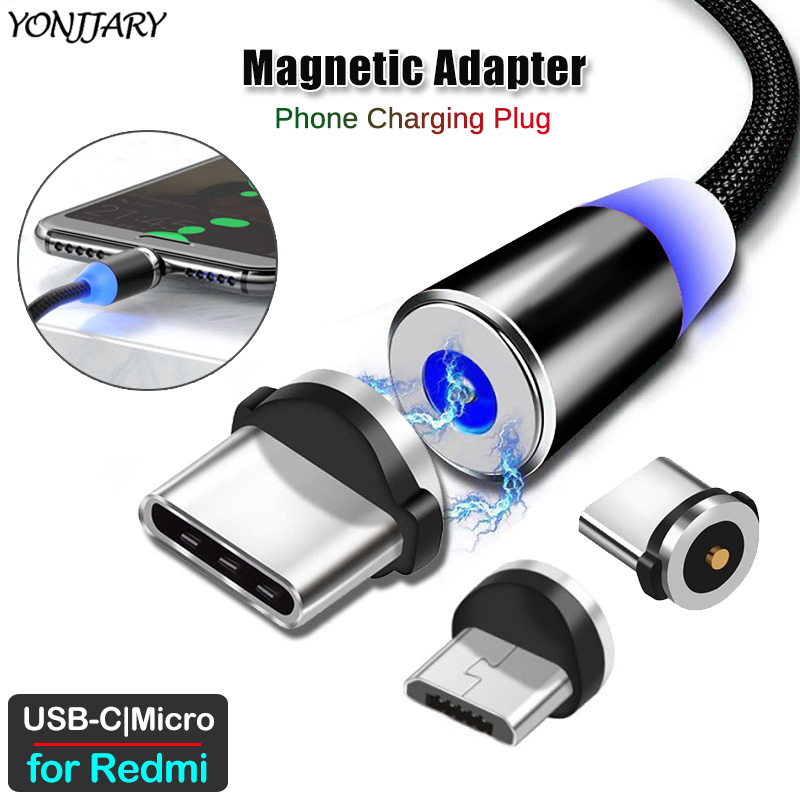 Round Magnetic Charging Cable Adapter For Xiaomi Redmi Note 9S 8T 7 8 9 Pro Redmi 4X 6 7 8 8A K20 K30 Pro Micro USB Type C Plug