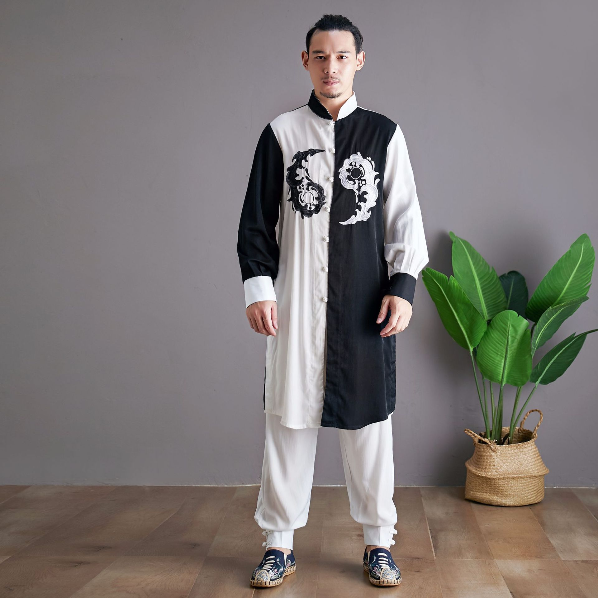 Ma Fan Autumn New Bagua Exercise Clothing Chinese-style Tai Chi Clothing Embroidered Frog Chinese Costume Men Leisure Set