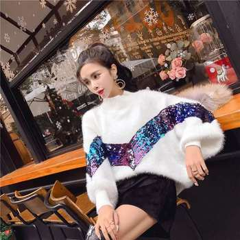 Women Sequin Sweaters Bling Bling Mohair Knitted Pullover O-neck Autumn&Winter Casual Long Sleeved Knitwear Woman Jumper  G1856 new 2015 autumn winter baby sweaters children clothing kids sweaters baby boys casual knitwear pullover