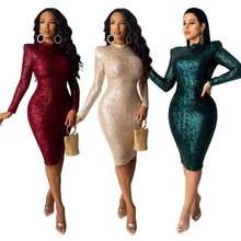 Блестящее платье с высоким воротником и блестками элегантные
