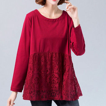 цена на Lace Blouse Plus size Tunic Women Long sleeve Shirt Splice Elegant Ladies Casual Ruffle Top Red Black