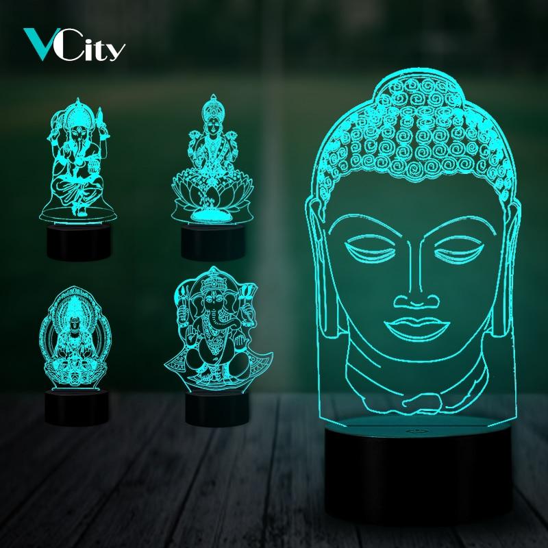 VCity India Buddhism 3D Lamp Ganesha Sakyamuni LED Nightlight Home Living Room Decoration Holiday Gifts Usb Atmosphere Lighting