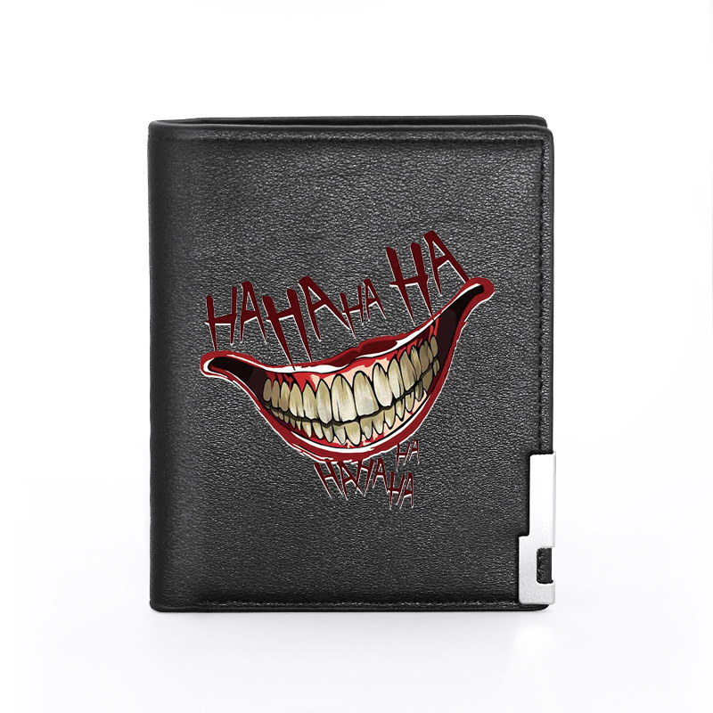 2020 New Arrivals Funny Hahaha Laugh Printing Black Pu Leather wallet Men Bifold Credit Card Holder Boy Short Purse Male