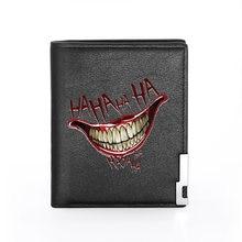 2020 New Arrivals Grappige Hahaha Lachen Afdrukken Zwart Pu Leather Wallet Men Bifold Credit Kaarthouder Jongen Korte Portemonnee Mannelijke