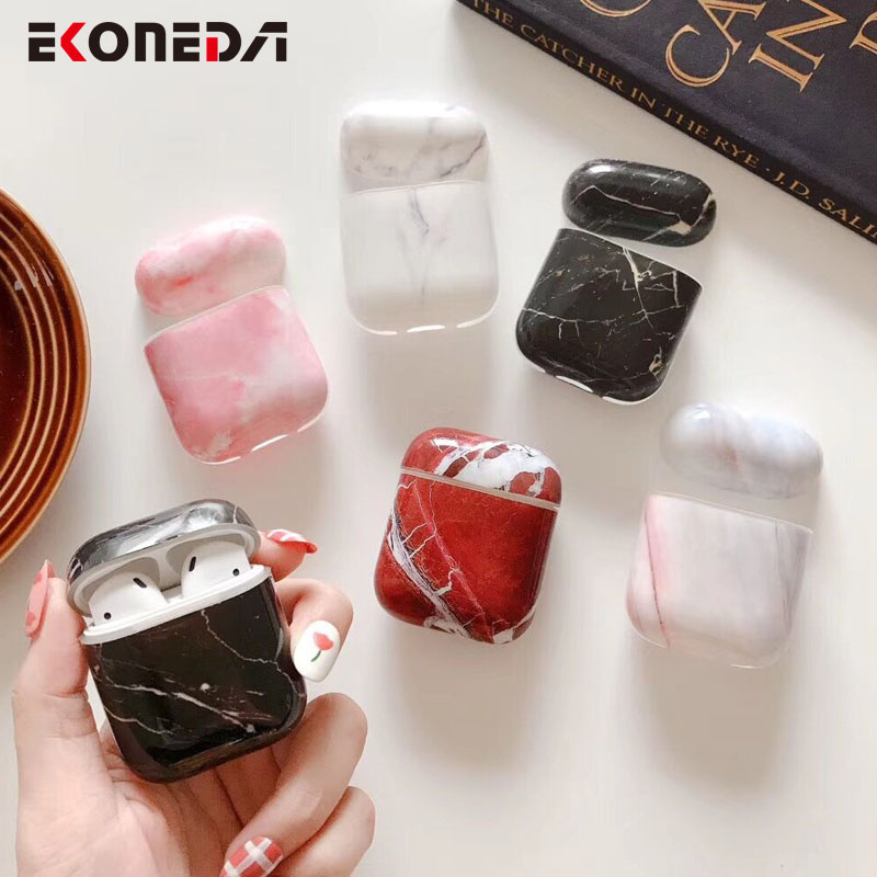 EKONEDA Ultra Slim Glossy Case For Airpods Case Marble Luxury Protective Cover For Airpods