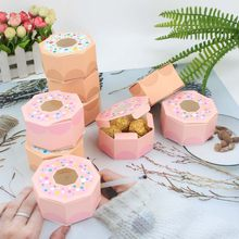 6PCS Donuts Gift Bags Candy Cookies Packaging Supplies DIY Kraft Paper Boxes Kids Gift Birthday Wedding Party Decoration