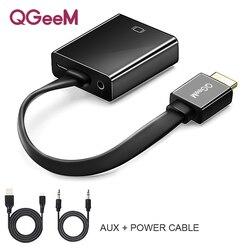 Qgeem hdmi para vga adaptador digital para vídeo analógico conversor de áudio cabo 1080p para xbox 360 ps3 ps4 computador portátil tv caixa projetor