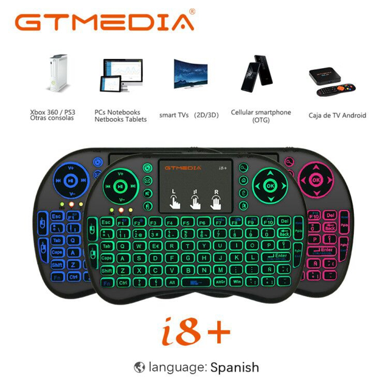 3 Color Backlit <font><b>i8</b></font> Mini <font><b>Wireless</b></font> <font><b>Keyboard</b></font> <font><b>2.4ghz</b></font> Spanish Air Mouse with Touchpad Remote Control For Android TV Box PC Laptop image