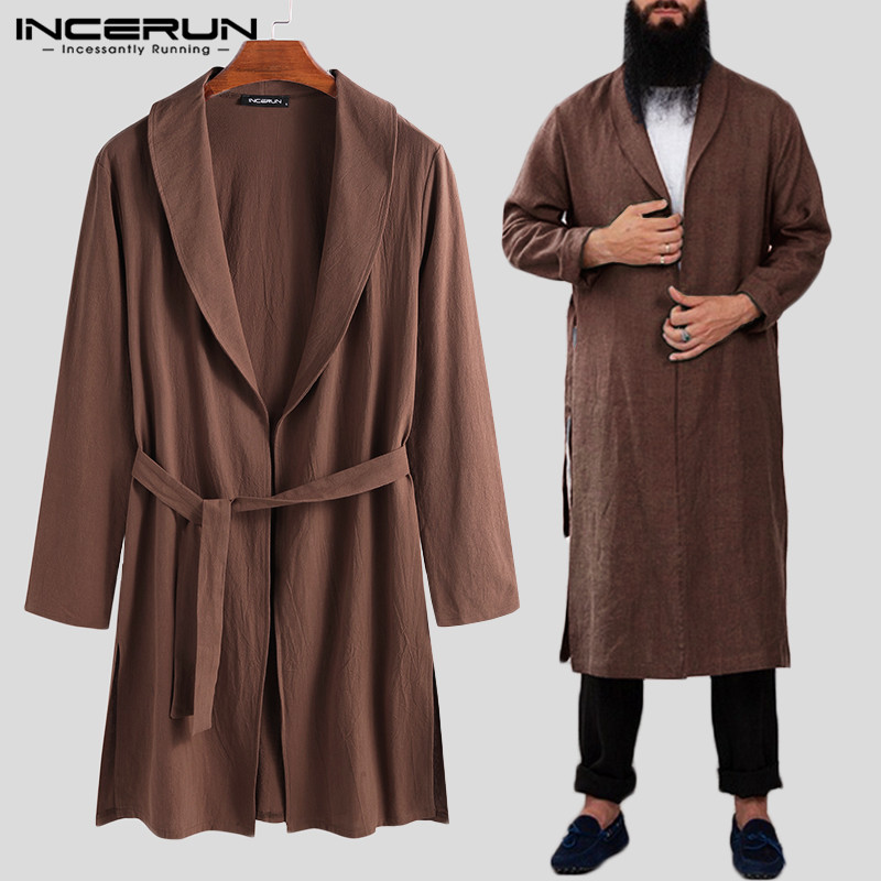 INCERUN Vintage Solid Color Men Robes Cotton Long Nightgown Casual Homewear 2020 Lapel Long Sleeve Pajamas Kimono Men Bathrobe