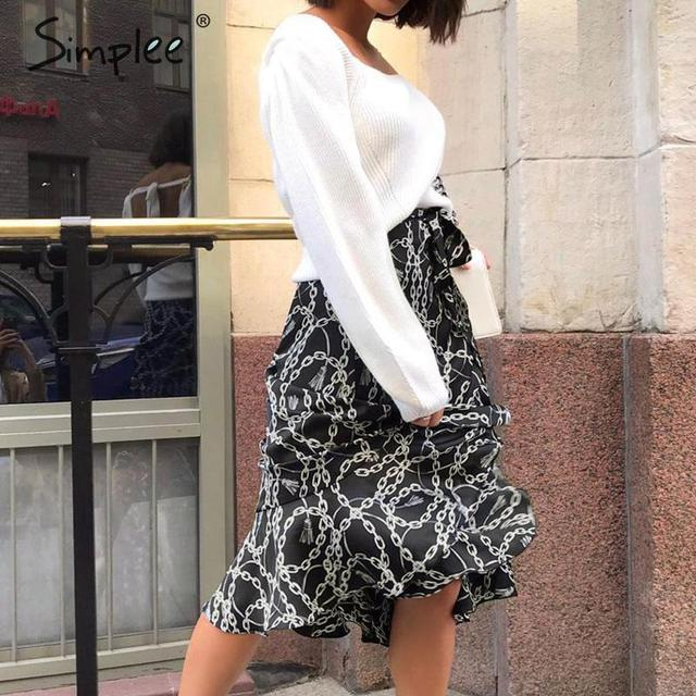 Simplee Fashion chain print women midi skirt Elegant lace up mid waist female wrap skirt Spring summer chic ladies skirts bottom 6