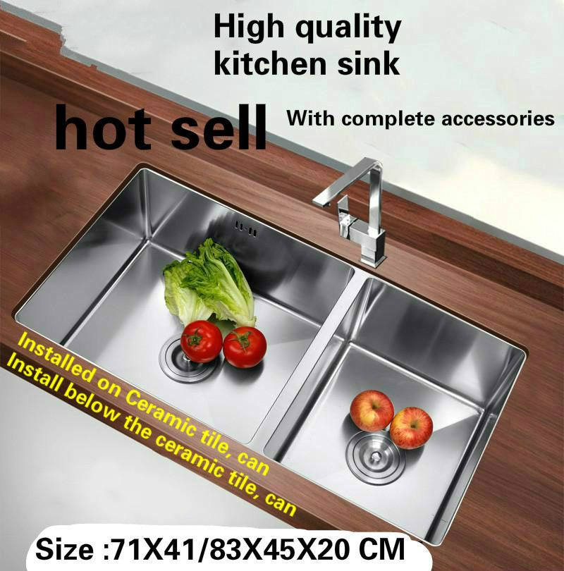Tangwu High-grade Kitchen Sink 4 Mm Thick Food-grade 304 Stainless Steel Handmade Double Groove71x41/76x43/78x45/83x45x22 CM