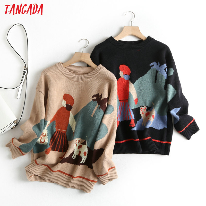 Tangada Women School Style Parttern Jumper Sweater 2019 Atumn Winter Fashion Long Sleeve O Neck Pullovers Tops BC50