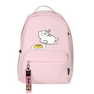 Image 1 - High Quality Neko Atsume Women Cat Backpack Kawaii Cute Bagpack Pink School Bags Cartoon Travel Backpack Laptop Daypack