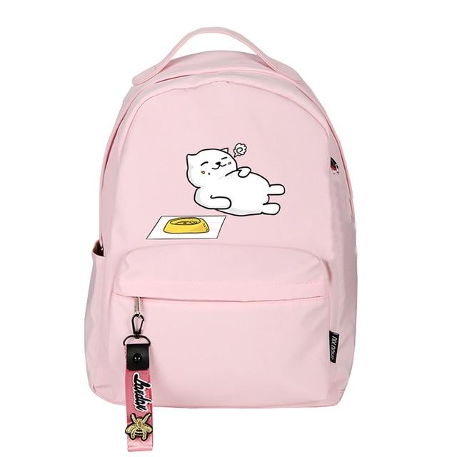 High Quality Neko Atsume Women Cat Backpack Kawaii Cute Bagpack Pink School Bags Cartoon Travel Backpack Laptop Daypack