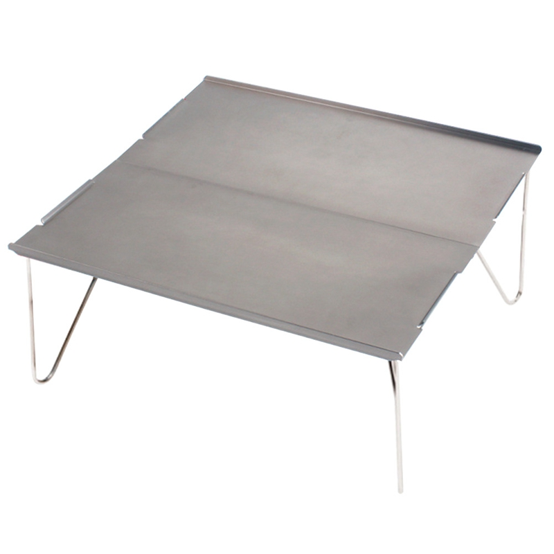 Picnic Mini Lightweight Durable Camping Furniture Portable Outdoor Hiking Single Desk Aluminum Plate Folding Table Barbecue(Gray