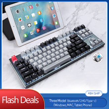 Три модель bluetooth механическая клавиатура синий переключатель