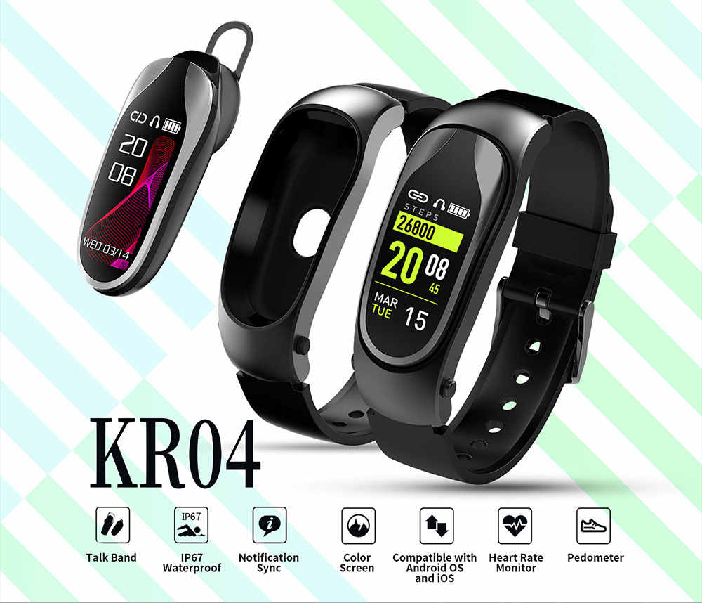 Quality KR04 Smart Watch Bracelet with Bluetooth Earphone Heart Rate Monitor Pedometer Sports Drive Call Music Smartwatch Band