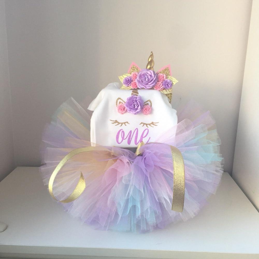 1 Year Girl Baby Birthday Dress Romper+Tutu Dress+Headband Cheap Newborn Clothes 12Months Christening Gown Toddler Unicorn Dress