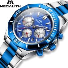 2019 חדש Mens שעון MEGALITH למעלה מותג יוקרה עמיד למים שעון נירוסטה זוהר הכרונוגרף קוורץ גברים שעון Relogio Masculino