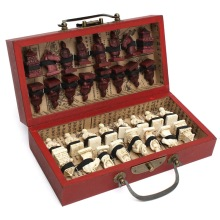 Chinese Wood Leather Box with 32 Pieces Terracotta Figure Chess Set Entertainment Checkers Traditional Games