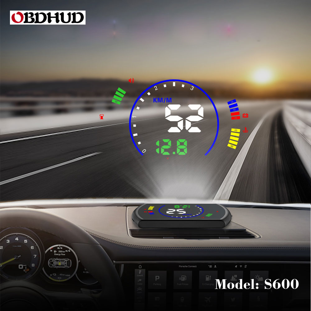 OBDHUD S600 Head-Up Display Car Speed Windshield Projecto OBD Interface HUD RPM Voltage Water Temperature Fuel Cosumption