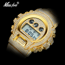 Dropshipping 2020 Original MISSFOX Digital Gshock Watch For Men Luminous Japan Movt 18k Gold Wrist Watch AAA Diamond Sport Watch цена 2017