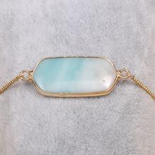 цены Rectangular Semi-Precious Stone Natural Stone Pendants Bangles Alloy Bracelet Charms For Women Jewelry Accessories Size 16x40mm