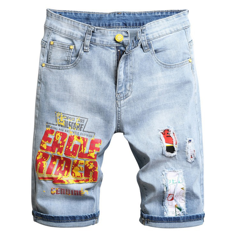 Men's summer light blue letters printed stretch denim shorts Trendy patchwork ripped jeans