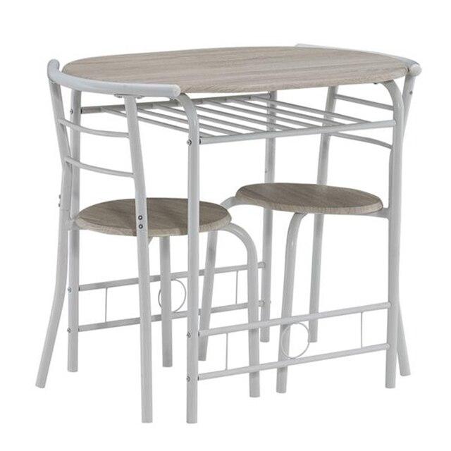 80x53x76cm Oak White Breakfast Table Set  3