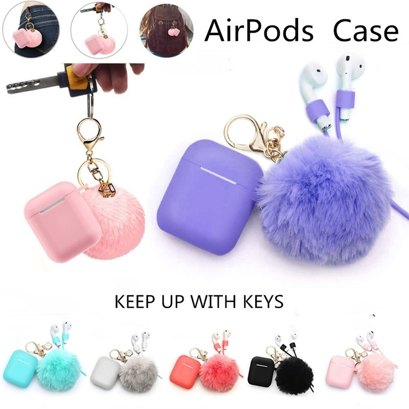 Airpods Case - Drop Proof Air Pods Protective Case Cover Silicone Skin Cute Fur Ball Airpods Keychain/Strap Apple Airpods Access