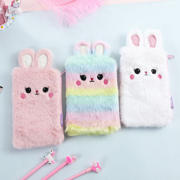 Cute Plush Rabbit Makeup Brush Bag Lovely Cosmetic Case Storage Student Girls Pencil Case Soft Fur Stationery Pencil Case Bag фото