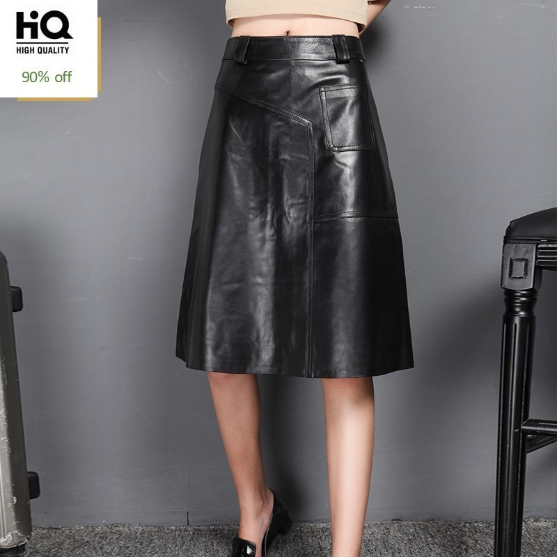 2020 New Spring Skirts Woman Black Sexy A-Line Genuine Leather Midi Long Skirt Ladies High Waist Slim Fit Elegant Clothes Korean