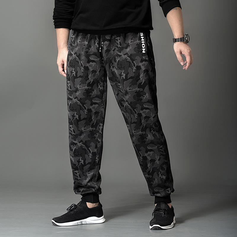 K70367 Dark Stripes Lettered Zipper Plus-sized Men'S Wear New Style Casual Camouflage Plus Velvet Beam Feet Long Pants