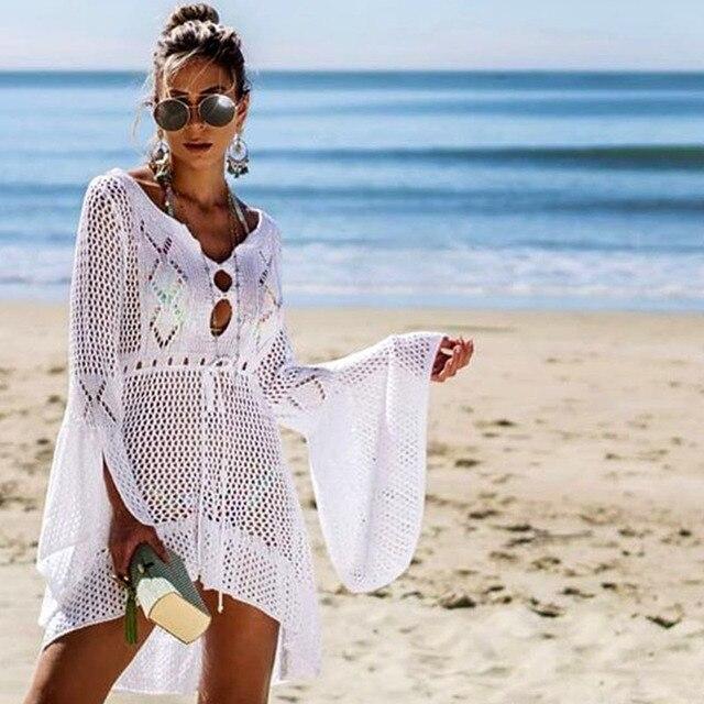 2021 Crochet White Knitted Beach Cover up dress Tunic Long Pareos Bikinis Cover ups Swim Cover up Robe Plage Beachwear 2