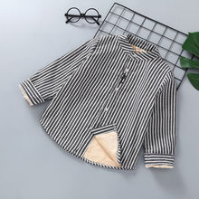 Cotton-Coats Boys Shirt Korean Baby Kids Children Thick Striped for Plus Velvet Autumn