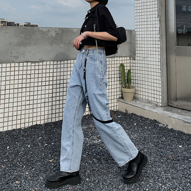 Baggy Jeans with black leather buckle