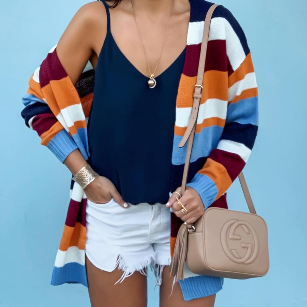 Women Striped Cardigan Long Sleeve Knitted Sweater Casual Female Color Patchwork 2019 Autumn Winter Fashion Stripe Sweaters