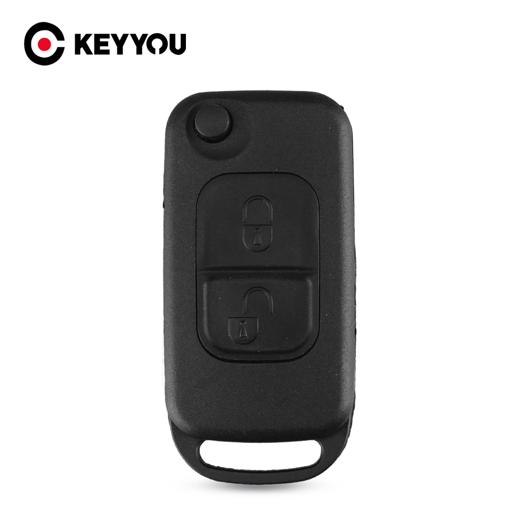 KEYYOU 2pcs Flip Folding car Shell Remote <font><b>Key</b></font> Fob Case 2 Button For <font><b>Mercedes</b></font> Benz E113 A C E S W168 W202 <font><b>W203</b></font> Free Shipping image