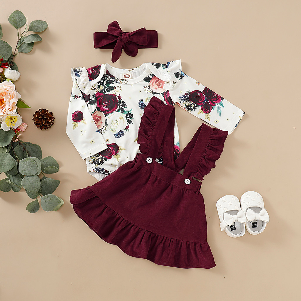 Baby Girls Floral Outfits Suspenders Skirt Long Sleeve lace Romper Jumpersuit Strap Skirt 2pcs Bodysuit