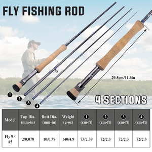 "Image 5 - Sougayilang 2.7M Fly fishing Rod Fly 9""#5  4 Section EVA / Metal Handle Carbon Fiber Fly Fishing Rod Lake River Fishing Tackles"