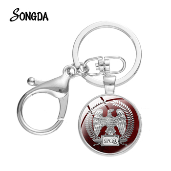 SONGDA Ancient Rome Empire SPQR Keychain Roman Empire Legions Photo Glass Cabochon Key Chain Silver Color Key Holder Bag Keyring image