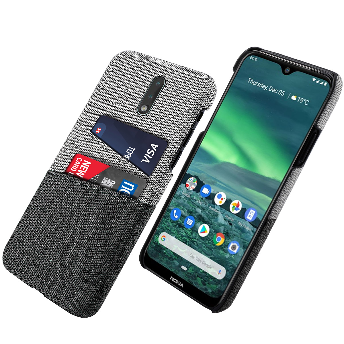For Nokia 2.3 Case Ultra Thin Slim Hard PC Protective Matte Fabric Cloth Back Cover For Nokia 2.3 Case Card Slot Wallet Style