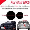 2 шт. 125 мм 110 мм передняя решетка автомобиля знак Задняя Крышка багажника эмблема логотип из АБС-пластика для игры в гольф, MK5 черный глянец/ма...