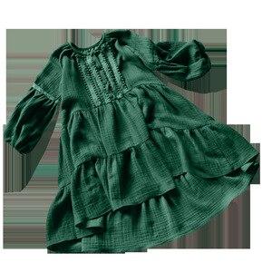 Image 3 - 2019 New Brand Girls Spring Dress Kid Dress Baby Girl Princess Dress Lantern Cotton Linen Toddler Embroidery Lace Dress,#3655