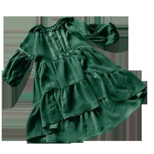Image 3 - Vestido de primavera para niñas, novedad de 2019, vestido de princesa para niña pequeña, vestido de encaje bordado de lino de algodón con farol, #3655