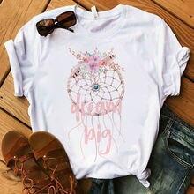 Женская футболка в стиле Харадзюку с коротким рукавом и цветочным