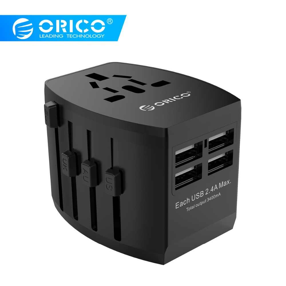 Orico Perjalanan Adaptor Soket Listrik EU/US/Uk/AU Plug Universal Power Adapter dengan 4 Port USB 5V3. 4A Charger